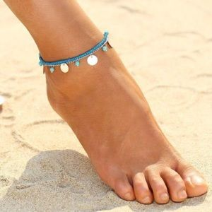 Blue stretchy Bohemian Anklet