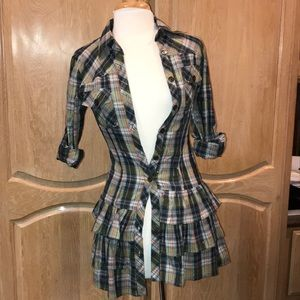Plaid top with ruffles