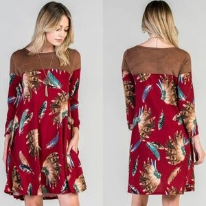 Burgundy feather swing dress with suede contrast