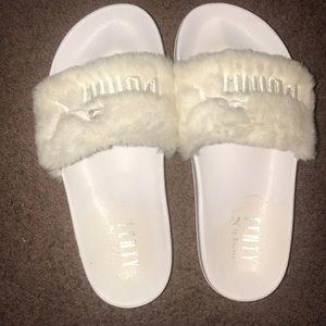 White Fenty Puma Slides