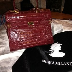 Muska Milano Aligator Satchel Bag in Burgundy