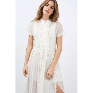 Topshop White Embellished Beaded Shirtdress