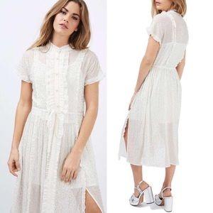 Topshop White Embellished Beaded Shirtdress
