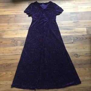 Purple Velvet Floral Long Dress