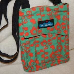 Kavu Mini Keeper Crossbody Orange Aqua Floral Vine
