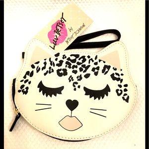 BETSEY JOHNSON Leopard Kitty Wristlet