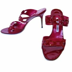 Manolo Blahnik Patent Red Open Heel Sandals-size 8