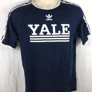 Adidas Yale University 3 Striped Arm Mens T-Shirt