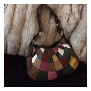 Lucky Brand multi color leather& suede hobo
