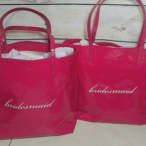 2-New Kate Spade Pink Bridesmaid Totes