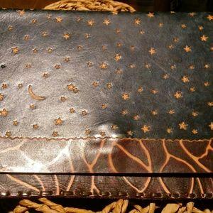 Diane Weiss Leather Flip Top Clutch