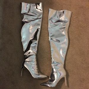 Silver Mirror Thigh High Boots, Size 10