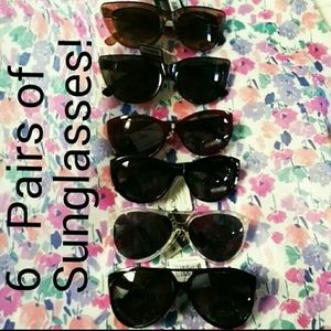 New! 6 Pairs of Clear Stylish Sunglasses