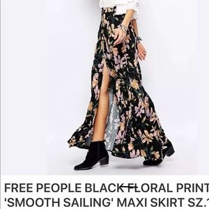 Free people floral print maxi skirt with split