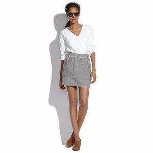 Madewell Ponte Swivel Skirt in Stripe Sz 2