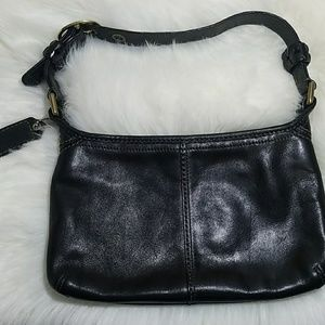 COACH black leather small rectangle purse