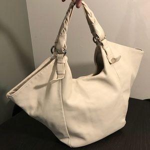 DEL CONTE Cream White Leather Shoulder Bag