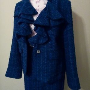 Royal Blue Special Suit Ruffled Pocketed Front 16W