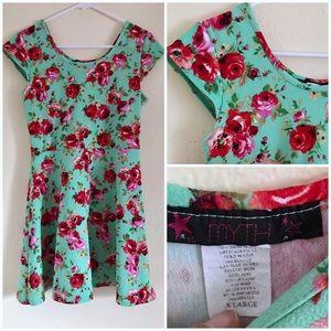 Mint floral skater dress XL