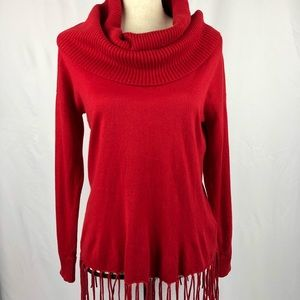 Michael Kors Red cowl neck fringe sweater