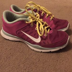 Pink training tennis shoes