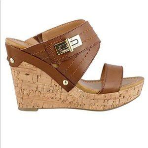 Brown High Heel Wedge Sandal