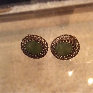 💠 Vintage Jade Sterling silver filigree earrings