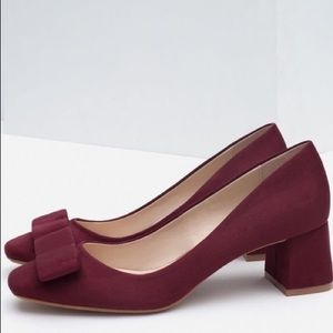 Zara Burgundy Suede Bow Low Box Heel Pump
