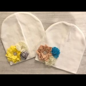 Other - Trio floral white beanie for girls & babies
