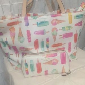 Kate spade Ice Cream  Tote with matching wallet