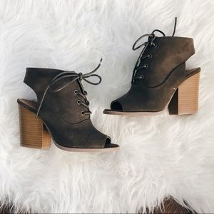 Olive Lace Up Cutout Open Toe Booties