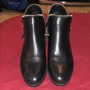 Black side zip black booties