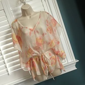Remain XS Floral Chiffon Batwing Waist Tie Top