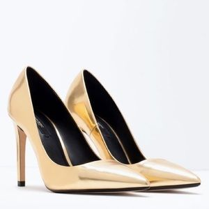Zara Leather Gold Pointed Toe Stiletto Pumps