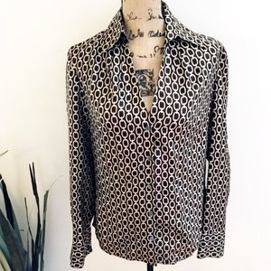 Ann Taylor chain link silk button down blouse