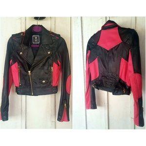 100% Leather Jacket Juicy Couture Moto Biker Pink
