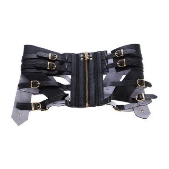 e241b54f5b Herve Leger Accessories - Herve Leger Black Leather Waist Cincher Belt