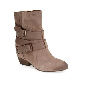 Hidden Wedge Oiled Suede Wrapped Buckle Boots