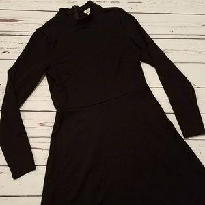H&M Black High Neck Long Sleeve Dress Small