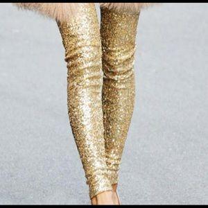 Xhilaration Gold Sequin Leggings