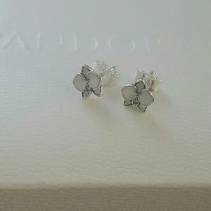 Authentic pandora white enamel orchid stud earring