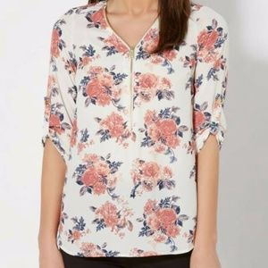 Spring Rose Zipped Popover Chiffon Top Blouse
