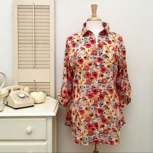 Cotton Orange Floral Smock Tunic,  Pullover Shirt