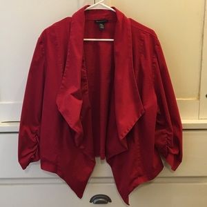 Courtenay 🎄 Red Open Drape Jacket Ruched Sleeves
