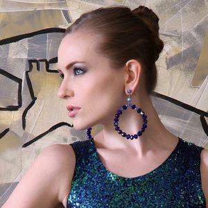 Bold, dark blue Czech/Swarovski hoop earrings
