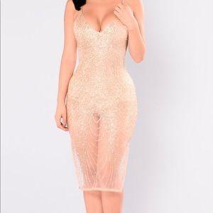Glitter half  lace dress