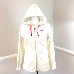 Northface fleece Fullzip white hoodie Pink trim  M