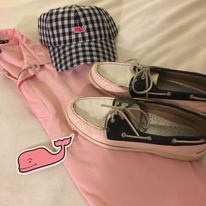 Sperry Topsider Pink Navy Boat Shoes Loafers 11