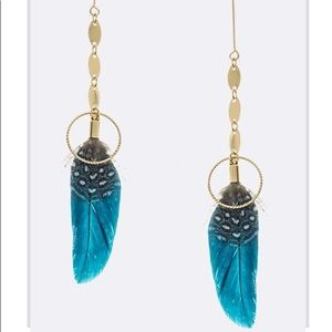 Blue feather earrings with gold accents