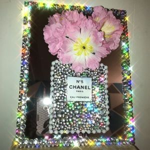 Led battery operated flower mirror art wall frame